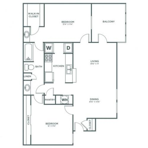 Sycamore | 2 bed 1 bath | from 937 square feet