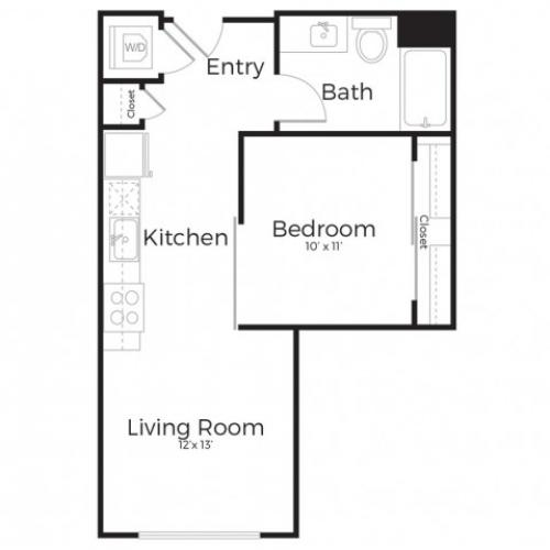 1D | 1 bed 1 bath | from 573 square feet