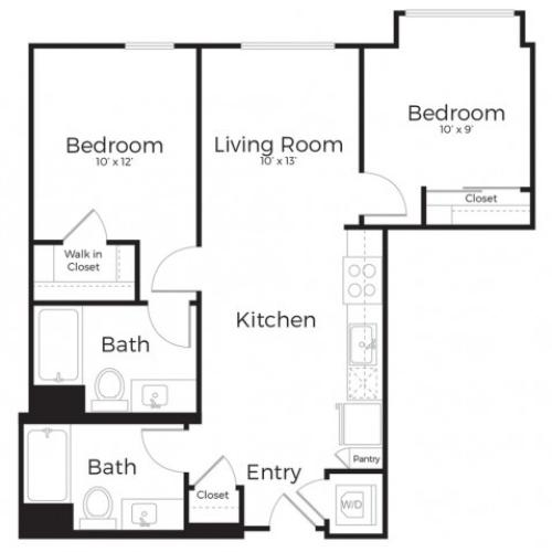 2D | 2 bed 2 bath | from 884 square feet