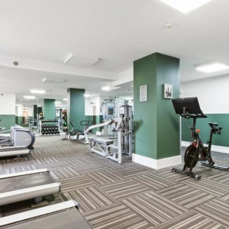 Fitness center with Peloton bikes, cardio equipment