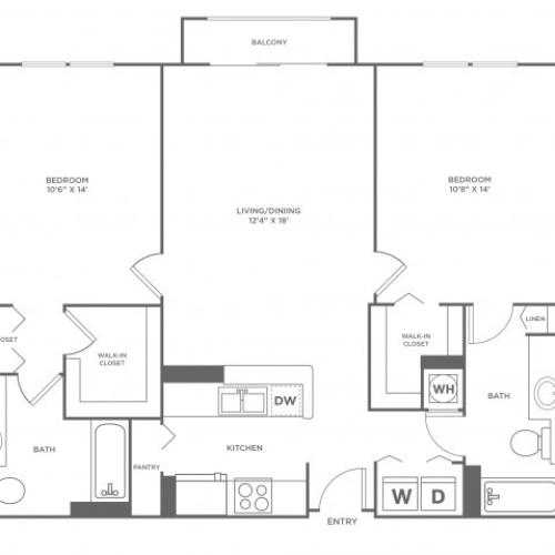 Moon | 2 bed 2 bath | from 1120 square feet