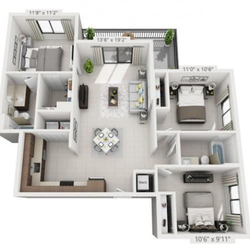 E | 3 bed 2 bath | from 1176 square feet