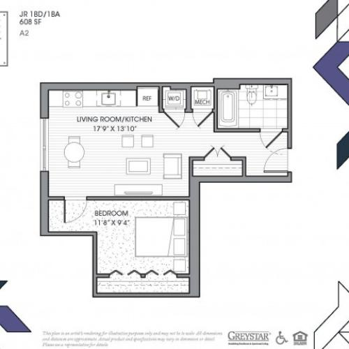 A2A | 1 bed 1 bath | from 679 square feet