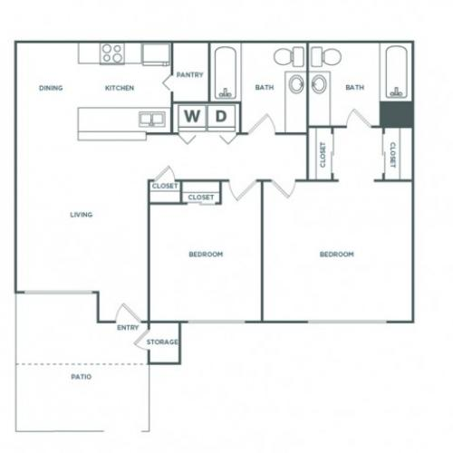 2x2 1060RG | 2 bed 2 bath | from 1060 square feet