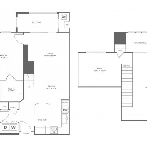Serendipity Loft with Balcony | 1 bed 1 bath | from 992 square feet