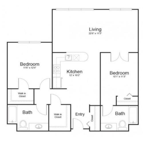 13d | 2 bed 2 bath | from 1036 square feet