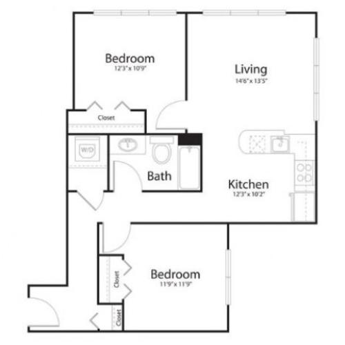 2a2 | 2 bed 2 bath | from 894 square feet