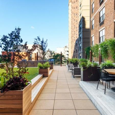 Outdoor courtyard with ample seating
