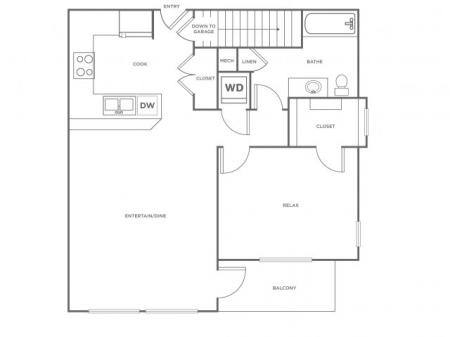 A2   1 bed 1 bath   from 792 square feet