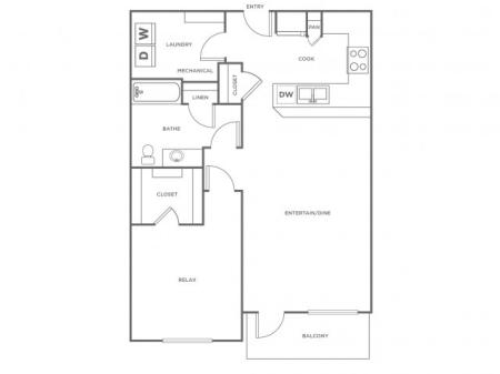 A3   1 bed 1 bath   from 852 square feet