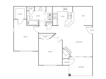 B1   2 bed 1 bath   from 966 square feet