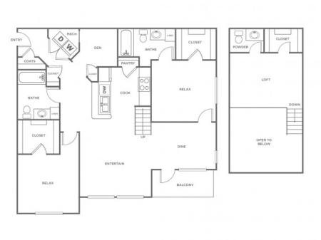 B1L   2 bed 3 bath   from 1356 square feet
