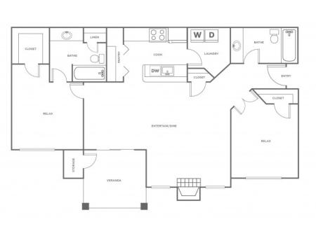 B2   2 bed 2 bath   from 1158 square feet