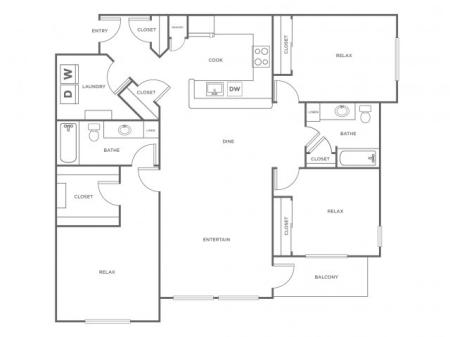 C2   3 bed 2 bath   from 1370 square feet
