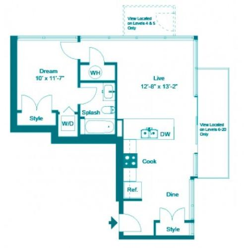 Turquoise | 1 bed 1 bath | from 688 square feet