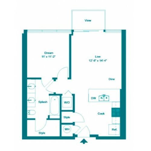 Aquamarine | 1 bed 1 bath | from 677 square feet