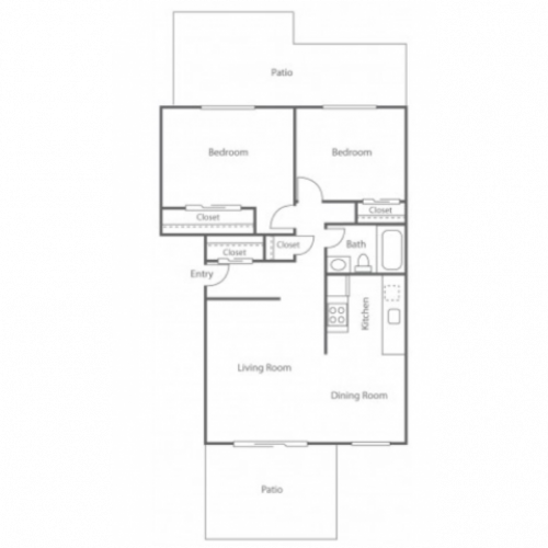 2BD/1BA Plan B | 2 bed 1 bath | from 820 square feet