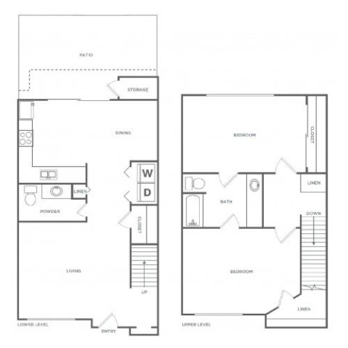 2x1.5 1120 | 2 bed 2 bath | from 1120 square feet