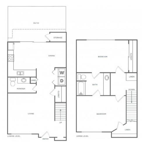 2x1.51120R | 2 bed 2 bath | from 1120 square feet