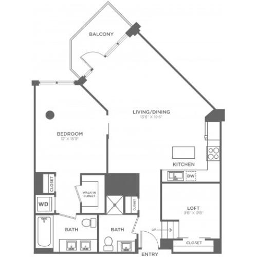 D2 | 1 bed 2 bath | from 1120 square feet