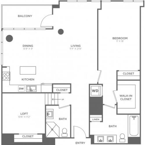 H | 1 bed 2 bath | from 1270 square feet