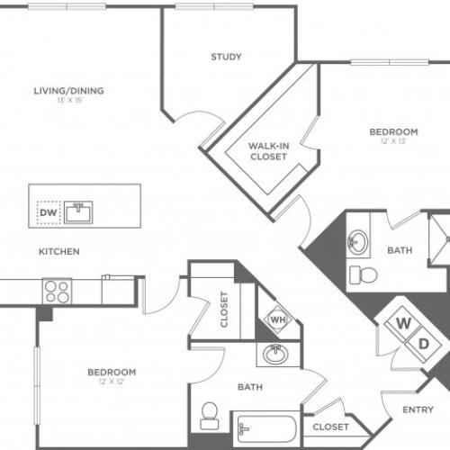Hickory East | 2 bed 2 bath | from 1345 square feet