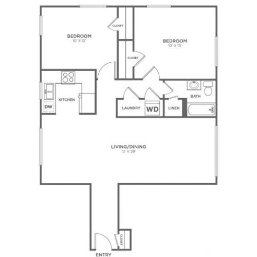 Cypress | 2 bed 1 bath | from 919 square feet