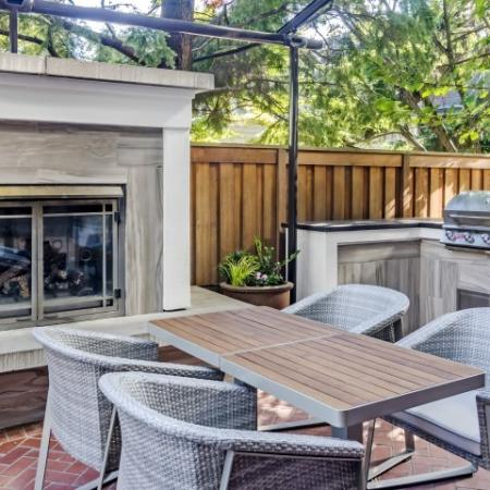 Outdoor BBQ Area with Fireplace