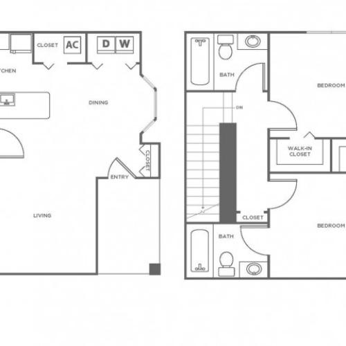 B2P | 2 bed 2.5 bath | from 1096 square feet