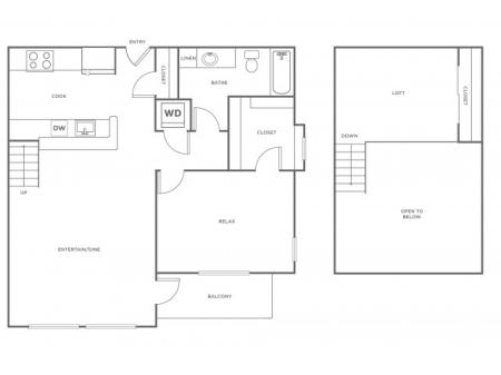 A1LR   1 bed 1 bath   from 937 square feet