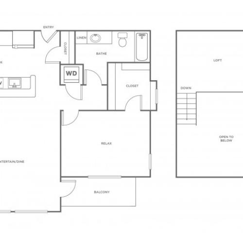 A1LR | 1 bed 1 bath | from 937 square feet