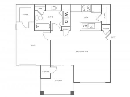A1R   1 bed 1 bath   from 780 square feet