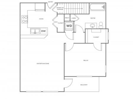 A2R   1 bed 1 bath   from 797 square feet