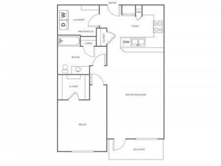 A3R   1 bed 1 bath   from 852 square feet