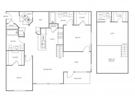 B1LR   2 bed 2.5 bath   from 1356 square feet