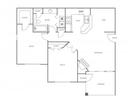 B1R   2 bed 1 bath   from 966 square feet