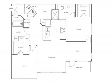 B3R   2 bed 2 bath   from 1176 square feet