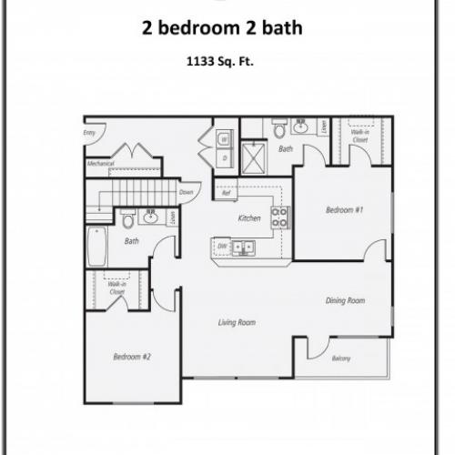 B2 - 1133 | 2 bed 2 bath | from 1133 square feet