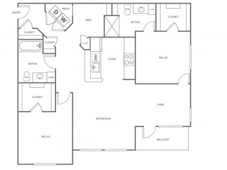 B3 - 1176   2 bed 2 bath   from 1176 square feet