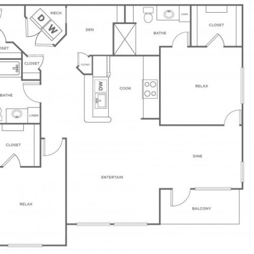 B3 - 1176 | 2 bed 2 bath | from 1176 square feet