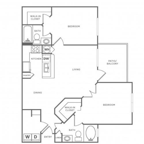 B1 Standard | 2 bed 2 bath | from 1090 square feet