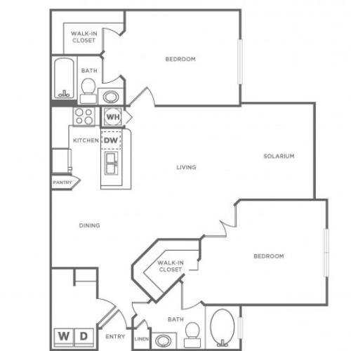 B2 Standard | 2 bed 2 bath | from 1190 square feet