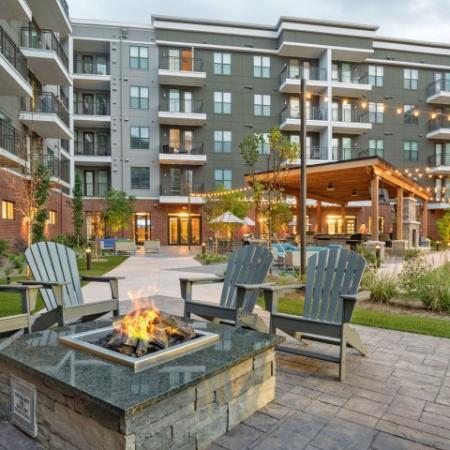 Outdoor seating and firepit