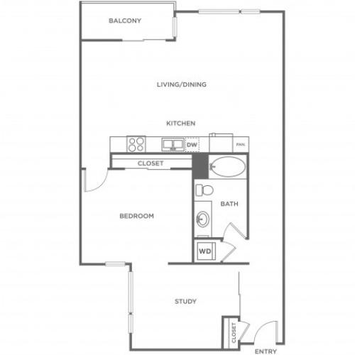 Plan B | 1 bed 1 bath | from 1158 square feet