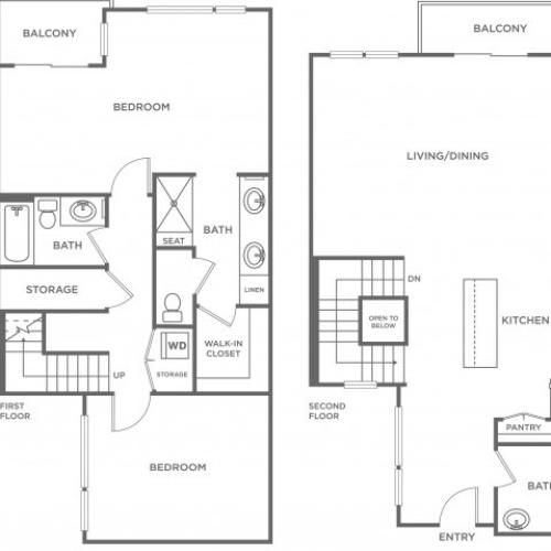 Plan C | 2 bed 2 bath | from 1394 square feet