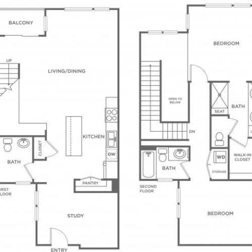 Plan D | 2 bed 2 bath | from 1382 square feet