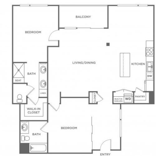 Plan E | 2 bed 2 bath | from 1282 square feet