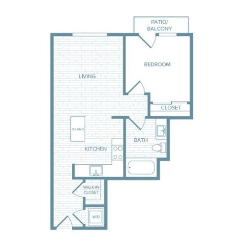 A01 | 1 bed 1 bath | from 624 square feet