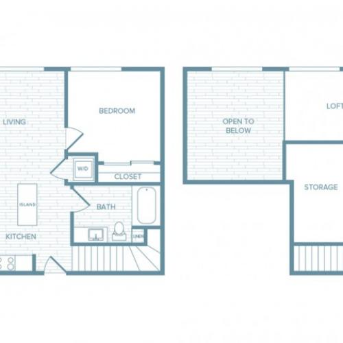 A02L | 1 bed 1 bath | from 867 square feet