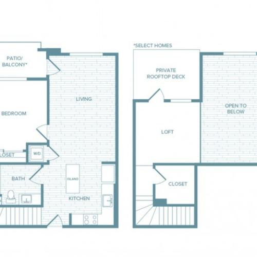A07L | 1 bed 1 bath | from 952 square feet